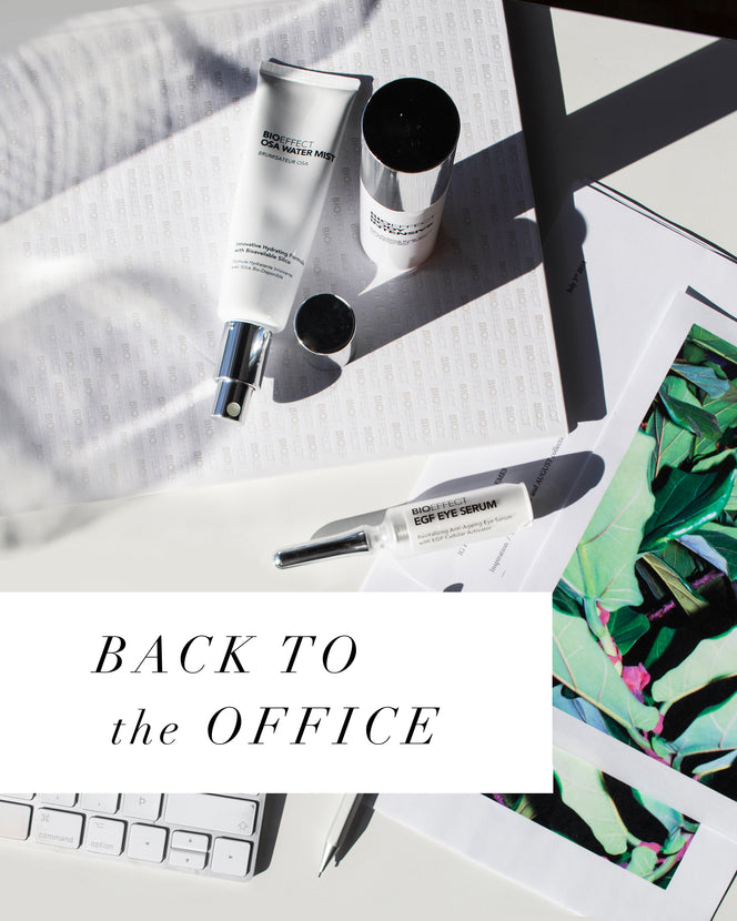 "Hydrating skincare products shown with a postcard and the text ""BACK TO the OFFICE"""