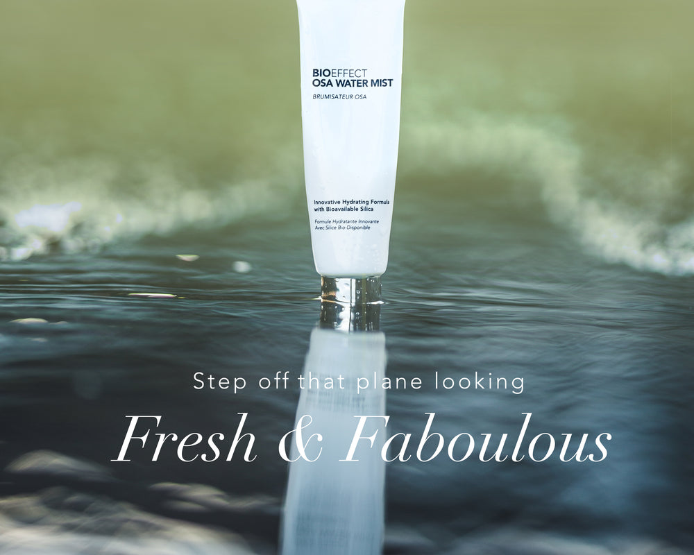"OSA Water Mist partly dipped in water with the text ""Step off that plane looking Fresh & Fabulous"""