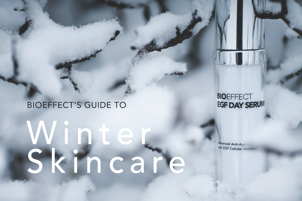 "BIOEFFECT EGF Daytime Face Serum in snowy tree branches with the text ""BIOEFFECT'S Guide to Winter Skincare"""
