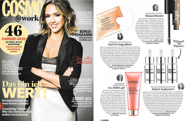 Image of BIOEFFECT 30 Day Anti-Aging Treatment feature in German edition of Cosmopolitan Magazine