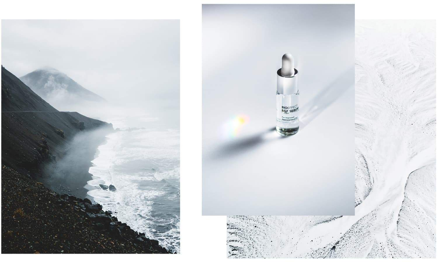 3 images arranged artfully. The image on the left is a birds-eye-view of a rocky coastline in foggy, overcast weather with mountains. A smaller image to the right features a bottle of BIOEFFECT pure skin care EGF Serum sitting on a white surface with natural light shining through. Behind this image is a minimal, all-white scene of natural, snowy landscape from high above.