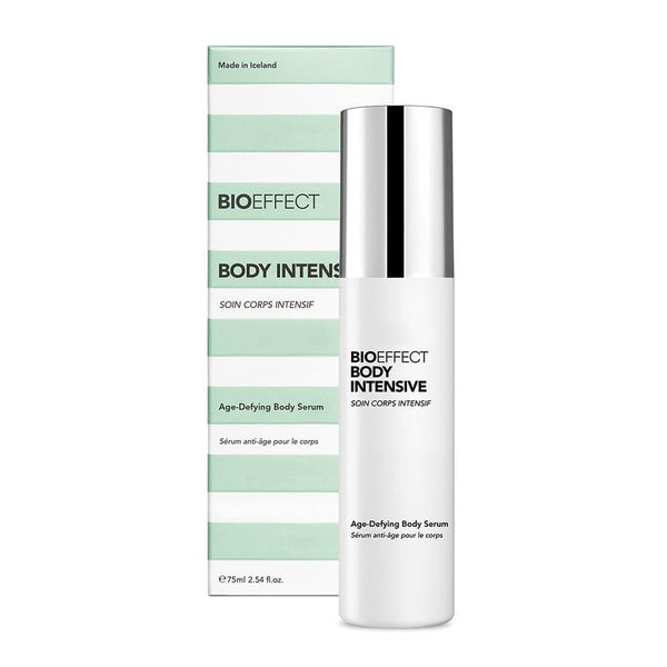 Green-and-white striped, rectangular-shaped package with a bottle of BIOEFFECT Growth Factor Skin Care Anti-Aging Body Serum Intensive to the right of the package.