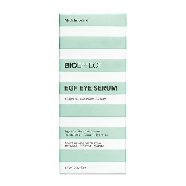 Green-and-white striped, rectangular-shaped package of BIOEFFECT EGF Skincare Eye Firming Serum.