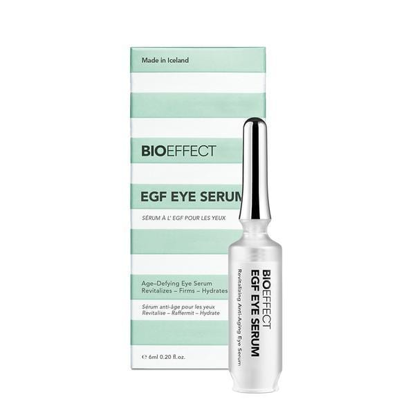 Green-and-white striped, rectangular-shaped package with a bottle of BIOEFFECT EGF Under Eye Skin Care Eye Serum to the right of the package.