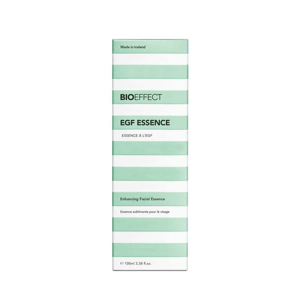 Green-and-white package of BIOEFFECT Pure Skin Care EGF Hydrating Essence.