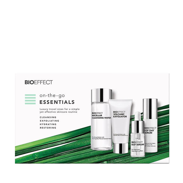 "Small rectangular ad for BIOEFFECT Growth Factor Skin Care travel size products. Micellar Cleansing Water, Volcanic Exfoliator, EGF Serum, and Day Serum are shown to the right, with a bright green tropical branch behind them. Text to the left reads, ""on-the-go ESSENTIALS 