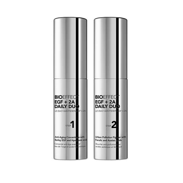Two silver bottles of BIOEFFECT Anti-Pollution Skincare EGF Daily Duo Antioxidant Serum.