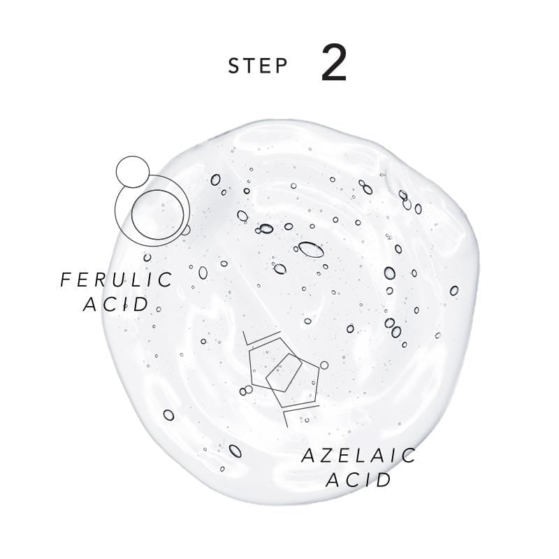 "Diagram of Step 2 in the EGF Anti-Pollution Skin Care process. Text on the image reads ""Ferulic Acid"" and ""Azelaic Acid"" with small bubbles and hexagons next to the text. All of it rests atop a large water droplet."