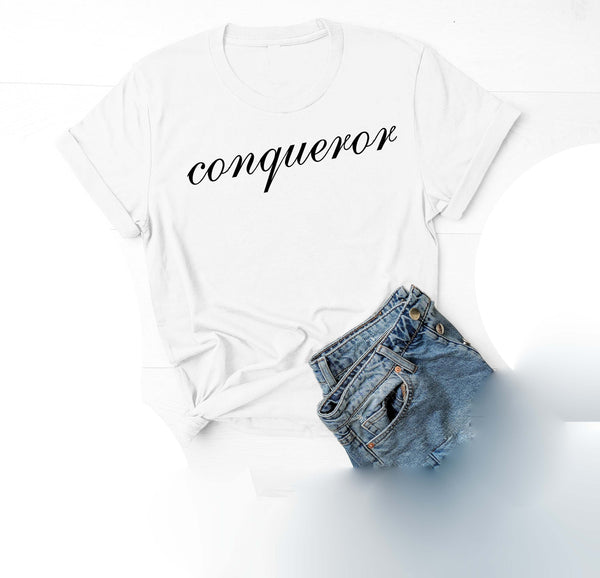 Being Me. Conqueror Womens Graphic Tee  | Positive Affirmations T shirts | Short Sleeve Top