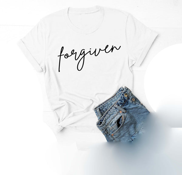 Being Me. Forgiven Womens Graphic Tee  | Positive Affirmations T shirts | Short Sleeve Top