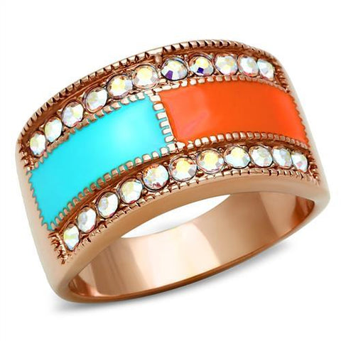 Blue Orange Crystal Stud Rose Gold Ring