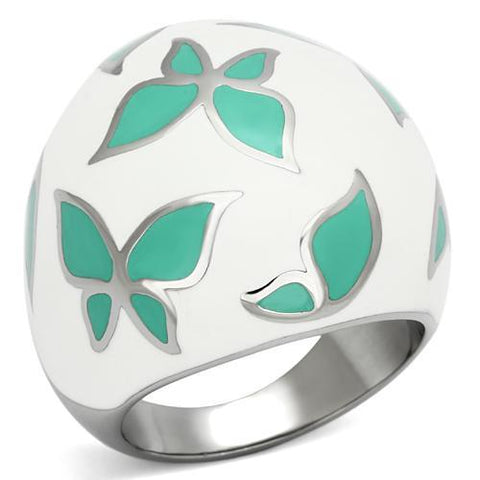 Green Butterfly w/ White Dome Ring