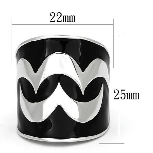Black Silver Wave Ring
