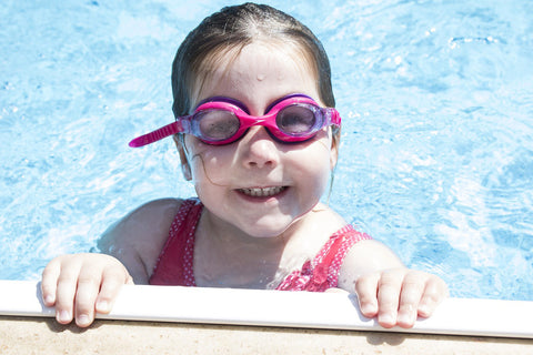 swimmer in her swimming goggles