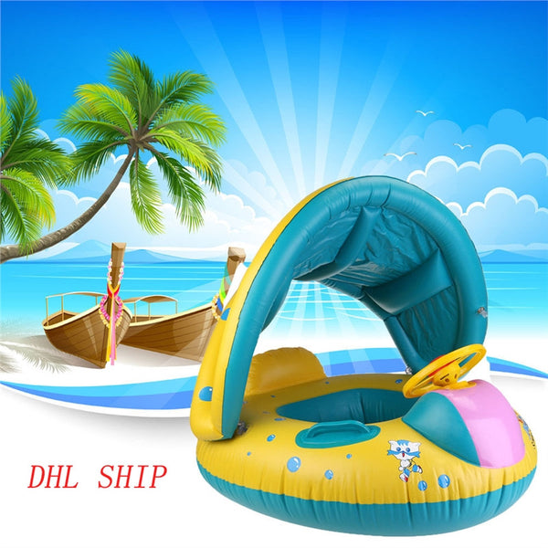 WINOMO Baby Swimming Float Boat Pool Floats with Sunshade Canopy for Kids Inflatable Pool Seat with Horn
