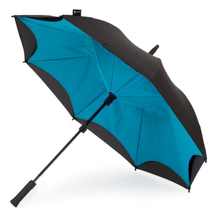 KAZbrella, KAZ, KAZ Designs, Umbrella, KAZ Umbrella, Straight, Straight Handle, Cyan, Blue, Turquoise, Blue / Black, Turquoise / Black, Open