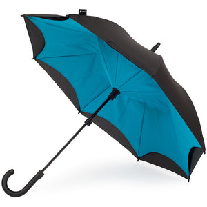 KAZbrella, KAZ, KAZ Designs, Umbrella, KAZ Umbrella, Curve, Curved, Curved Handle, Cyan, Blue, Turquoise, Blue / Black, Turquoise / Black, Open