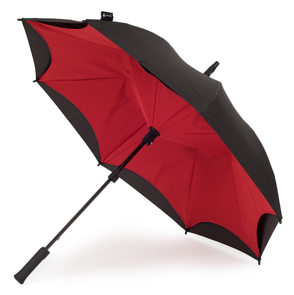KAZbrella, KAZ, KAZ Designs, Umbrella, KAZ Umbrella, Straight, Straight Handle, Red, Red / Black, Open