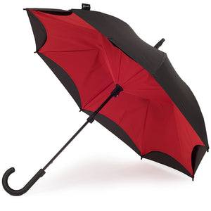KAZbrella, KAZ, KAZ Designs, Umbrella, KAZ Umbrella, Curve, Curved, Curved Handle, Red, Red / Black, Open