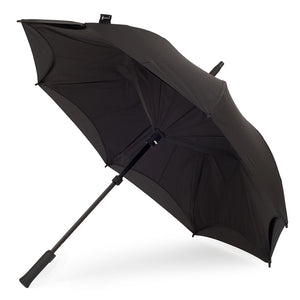 KAZbrella, KAZ, KAZ Designs, Umbrella, KAZ Umbrella, Straight, Straight Handle, Black, Black / Black, Open