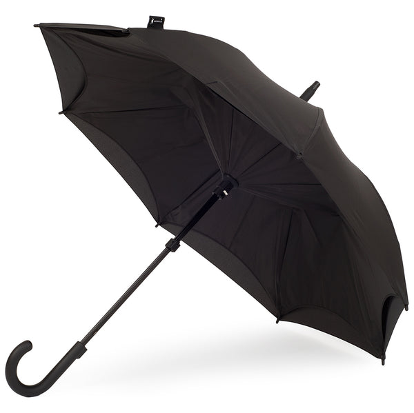 KAZbrella, KAZ, KAZ Designs, Umbrella, KAZ Umbrella, Curve, Curved, Curved Handle, Black, Black / Black, Open