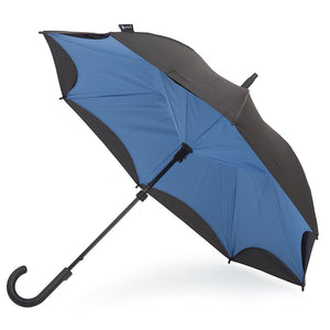 KAZbrella, KAZ, KAZ Designs, Umbrella, KAZ Umbrella, Curve, Curved, Curved Handle, Blue, Cornflower Blue, Blue / Black, Cornflower Blue / Black, Open
