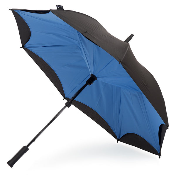 KAZbrella, KAZ, KAZ Designs, Umbrella, KAZ Umbrella, Straight, Straight Handle, Blue, Cornflower Blue, Blue / Black, Cornflower Blue / Black, Open