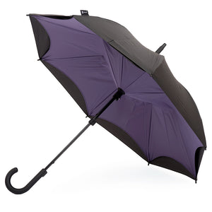 KAZbrella, KAZ, KAZ Designs, Umbrella, KAZ Umbrella, Curve, Curved, Curved Handle, Purple, Purple / Black, Open