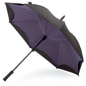 KAZbrella, KAZ, KAZ Designs, Umbrella, KAZ Umbrella, Straight, Straight Handle, Purple, Purple / Black, Open