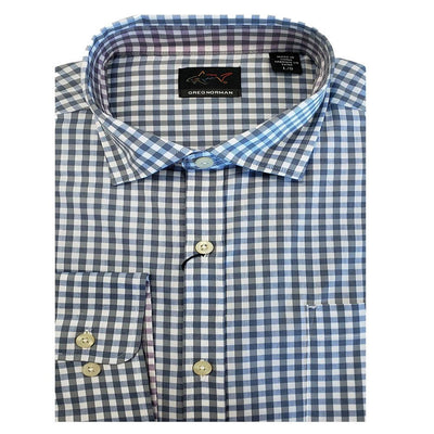 Greg Norman Collection Men's Poplin Long Sleeve Shirt - Marine