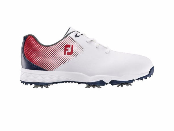 Footjoy Junior Boy's Cleated Golf Shoes - 45014 - RED / WHITE / BLUE