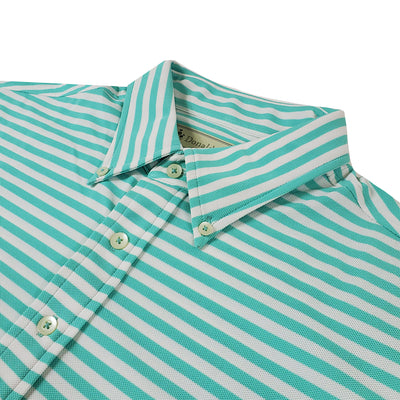 Donald Ross Mens Short Short Sleeve 5 Button Pocket Polo - SEAFOAM/CREAM