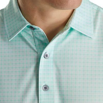 FJ Men's Plaid Print Self Collar Shirt - MINT