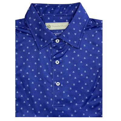 Donald Ross Mens Short Sleeve CLUBS PRINT, Self Collar - NAVY / WHITE