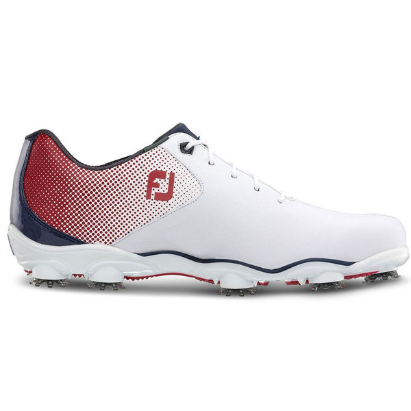 38474f99addc2 Footjoy Mens D.N.A. HELIX Golf Shoes -WHITE / RED / BLUE - Factory Blemish