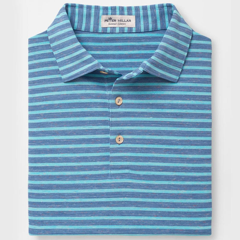 Peter Millar - Mens Donegal Stripe Performance Polo - LAKE BLUE