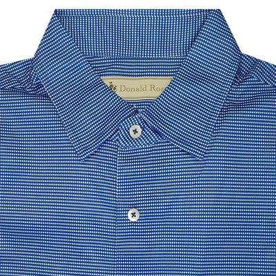 Donald Ross Mens Short Sleeve 2-Color DOTTED PRINT Pattern , Self Collar - PATRIOT/WHITE