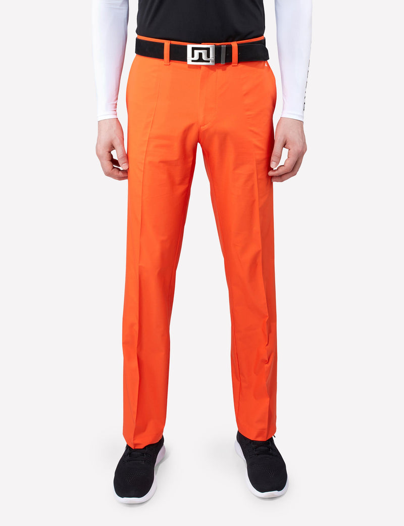 J Lindeberg Men's Elof Regular Fit Light Poly Pants - RACING ORANGE
