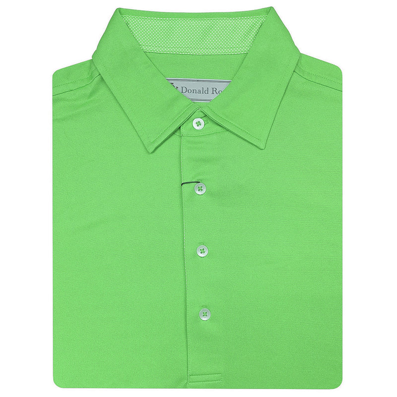 Donald Ross Mens Short Sleeve Solid Jersey Mini Check SELF Collar - KELLY GREEN