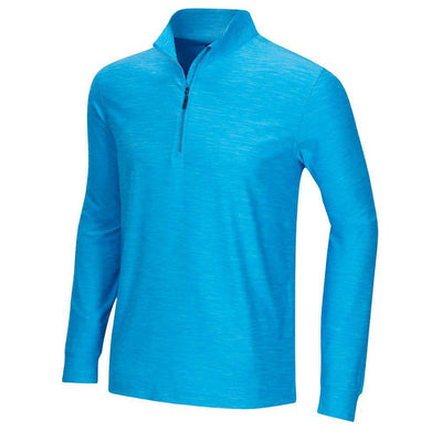 GREG NORMAN 1/4 ZIP HEATHER MOCK PULLOVER - CARIBBEAN BLUE HEATHER
