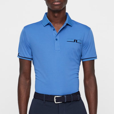J.LINDEBERG Mens - PETR REG FIT TX JERSEY - WORK BLUE