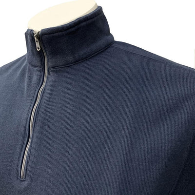 GREG NORMAN 100% COTTON 1/4 ZIP SWEATER - NAVY