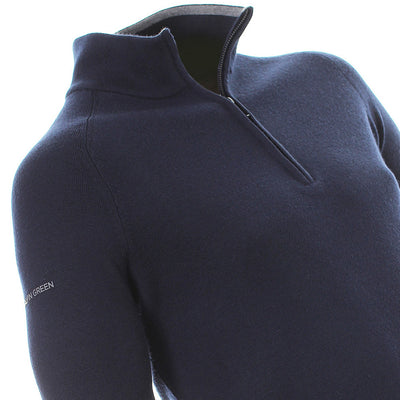 Galvin Green Mens CHARLES Half Zip Golf Mercerized Wool/ Acrylic Sweater - MIDNIGHT / NAVY