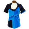 Womens Catwalk Carol Short Sleeve Golf Top - Blue/Black