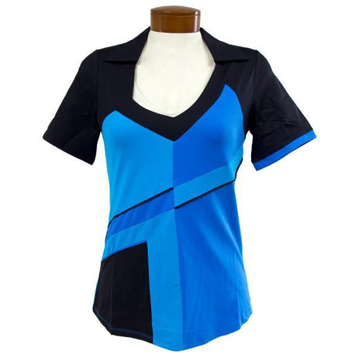 Catwalk Carol Short Sleeve Golf Top - Blue/Black