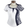 Catwalk Catherine Short Sleeve Golf Top - Navy Print