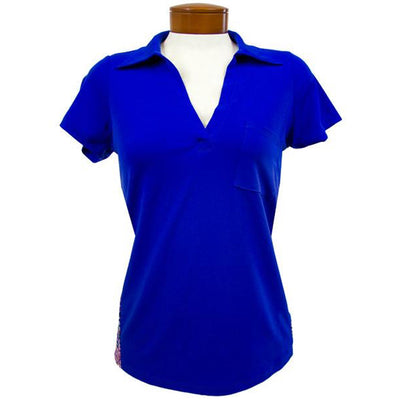 Womens Catwalk Clarissa Short Sleeve Golf Top - Saphire/Batik