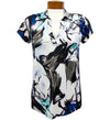 Catwalk Clarissa Short Sleeve Golf Top - Blue Flower