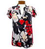 Catwalk Clarissa Short Sleeve Golf Top - Red Flower/Black