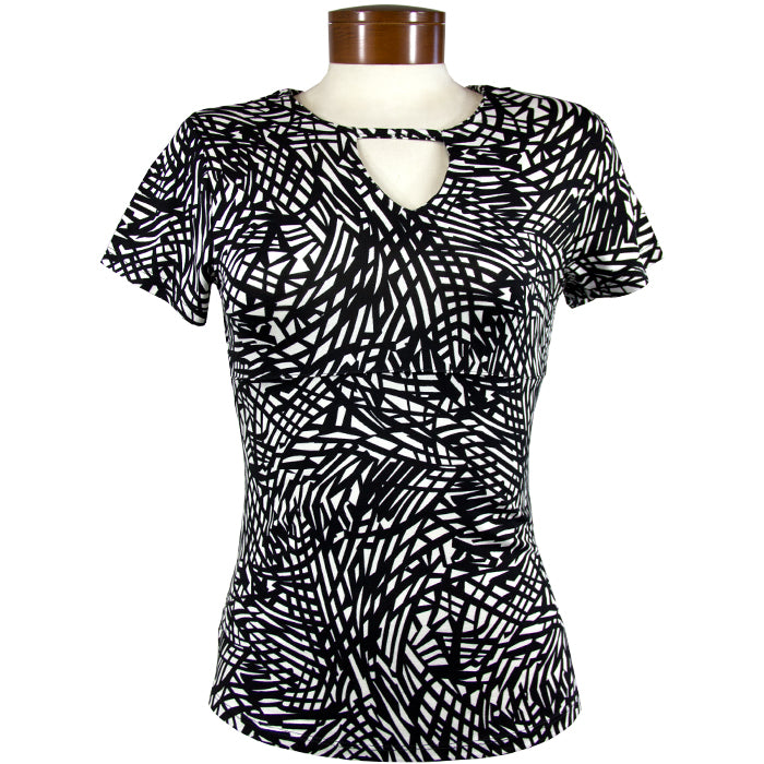 Catwalk Front2Back Short Sleeve Golf Top - Black Print